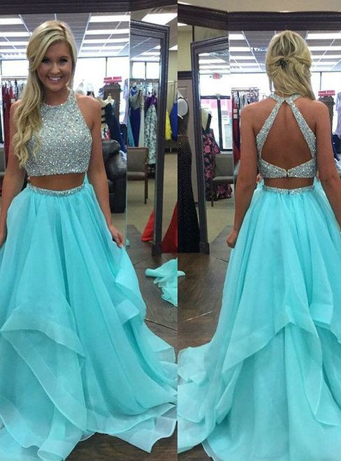 9b16a26241a3 Gold White Ball Gowns Two Piece Tulle Backless Prom Dress in 2019 ...