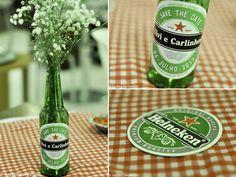 GARRAFAS PARA DECORAÇÃO  Suellen Gargantini {Fotografia}: Chá Bar Heineken   Vivi e do Carlinhos