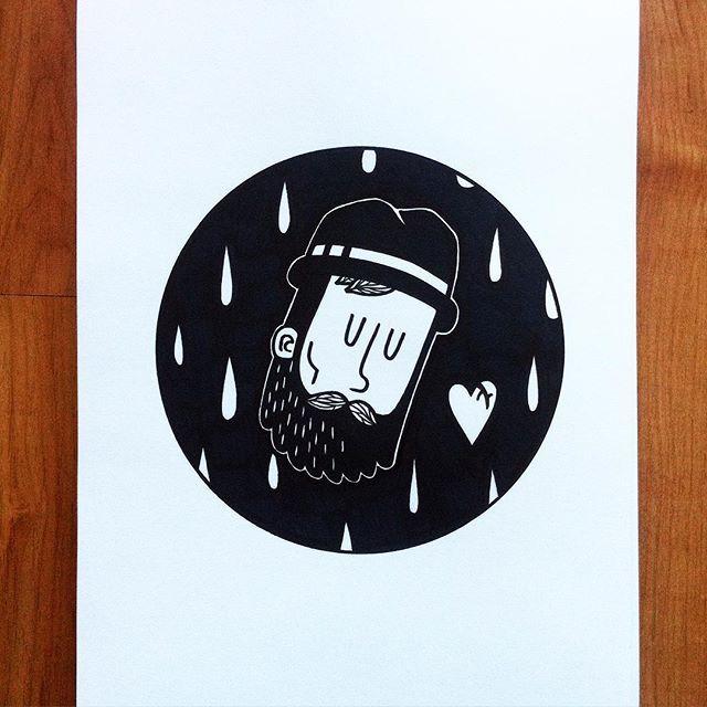 Pablo Contreras. -- Está lloviendo #illustration #drawing #art #dibujo #ilustracion #blackandwhite #black #ink #bearded #monday #sharpie #sharpieinkcreations