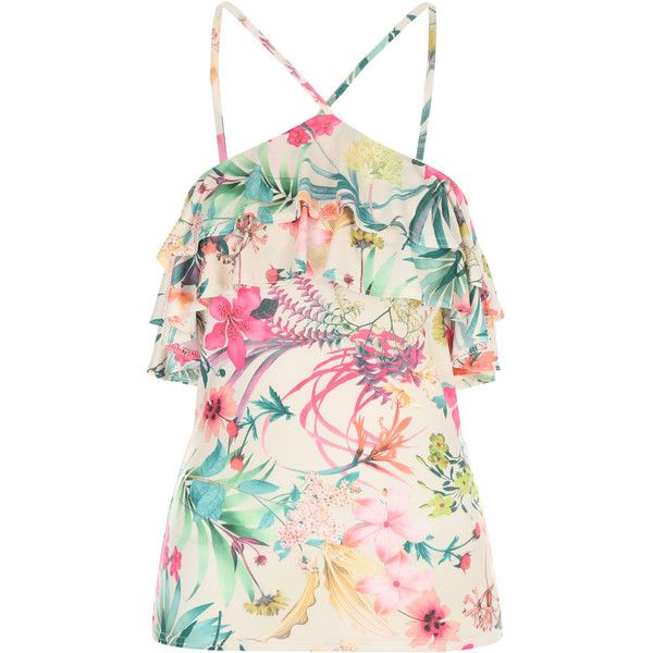 Floral Print Ruffle Strappy Top ($32) ❤ liked on Polyvore featuring tops, shirts, pink floral shirt, ruffle top, floral print shirt, flower print shirt and print shirts