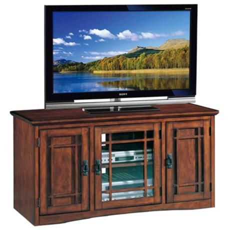 "Mission Oak 50"" Wide Television Console 50"" wide. 25"" high. 20"" deep. $399"