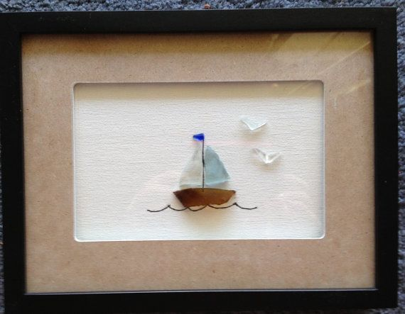 Sailboat Hawaiian Sea Glass Shadow Box by Wendywen74 on Etsy, $60.00