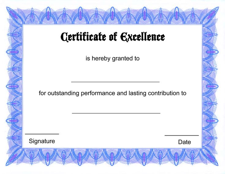 44 best blank certificate templates images on pinterest award certificate of excellence template 5 free printable certificates of excellence templates certificate of excellence free printable allfreeprintablecom yadclub Images
