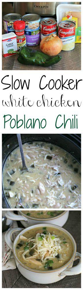 Slow Cooker White Chicken Poblano Chili