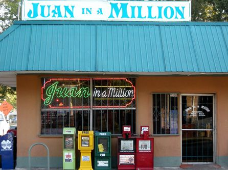 Juan in a Million ~~ Featured on Man vs. Food. Dirt cheap (but still pretty good) mexican food. Try eating the Don Juan for yourself. $