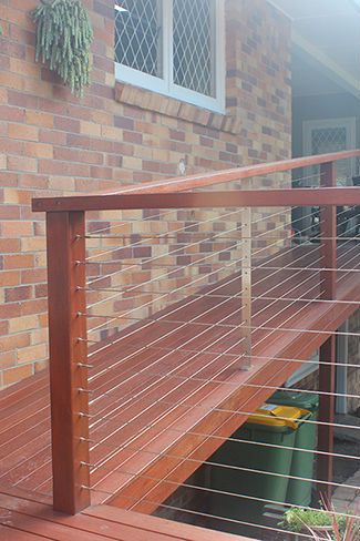 Wire balustrade and timber posts