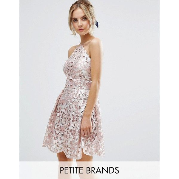 Chi Chi Petite Cutwork Detail Prom Dress With Foil Detail ($103) ❤ liked on Polyvore featuring dresses, petite, pink, metallic dress, low back dress, petite prom dresses, slimming dresses and cocktail prom dress