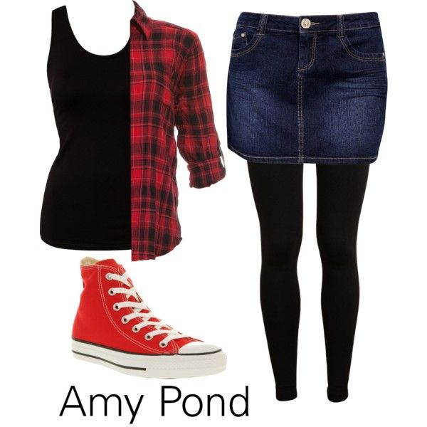 Amy Pond! I actually have all of this except the black tanktop and red plaid shirt but I have other colors than red...hmmm....