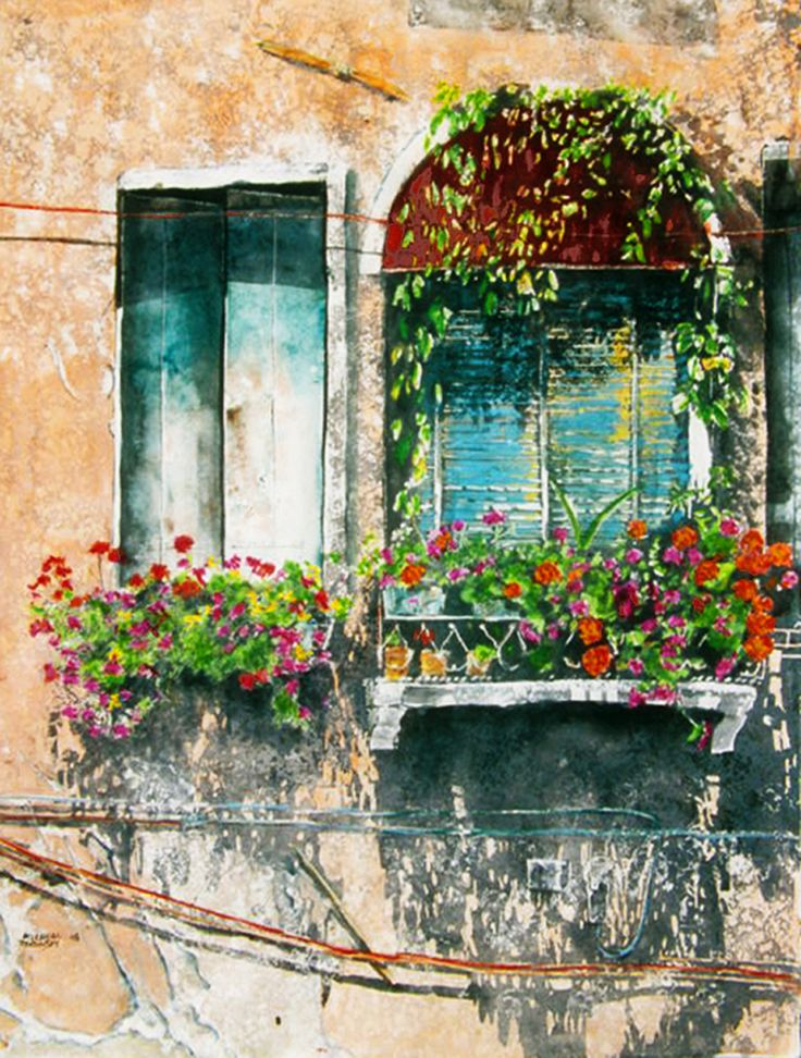 """red awning balcony venice 30"""" x 22"""" micheal zarowsky / watercolour on arches paper / available $2100.00"""