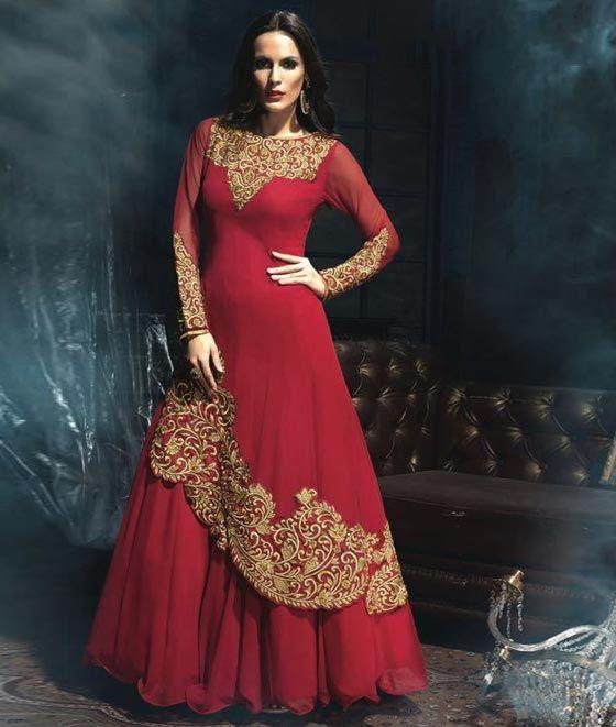 Red Floor Length Anarkali Gown Suit