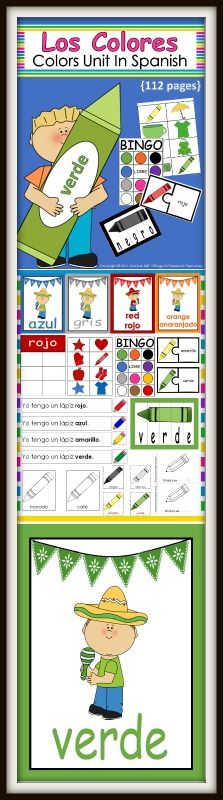 Los Colores Unit is a great way to learn colors in Spanish!   The 112 page download is full of learning!   The following is included by page number.   6-32: These are large cards with pictures of colors (Spanish or Bilingual version-14 total)  rojo   azul  amarillo  verde  negro  blanco  morado  púrpura  café  marrón  gris  anaranjado  rosa  rosado