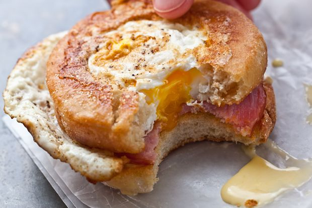 Egg-in-a-Hole + Eggs Benedict combine to create one awesome breakfast sandwich