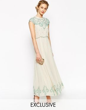 Frock and Frill Maxi Dress With Baroque Embellishment
