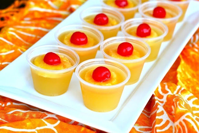 U is for: Upside Down Cake Jello Shots!! YUMM