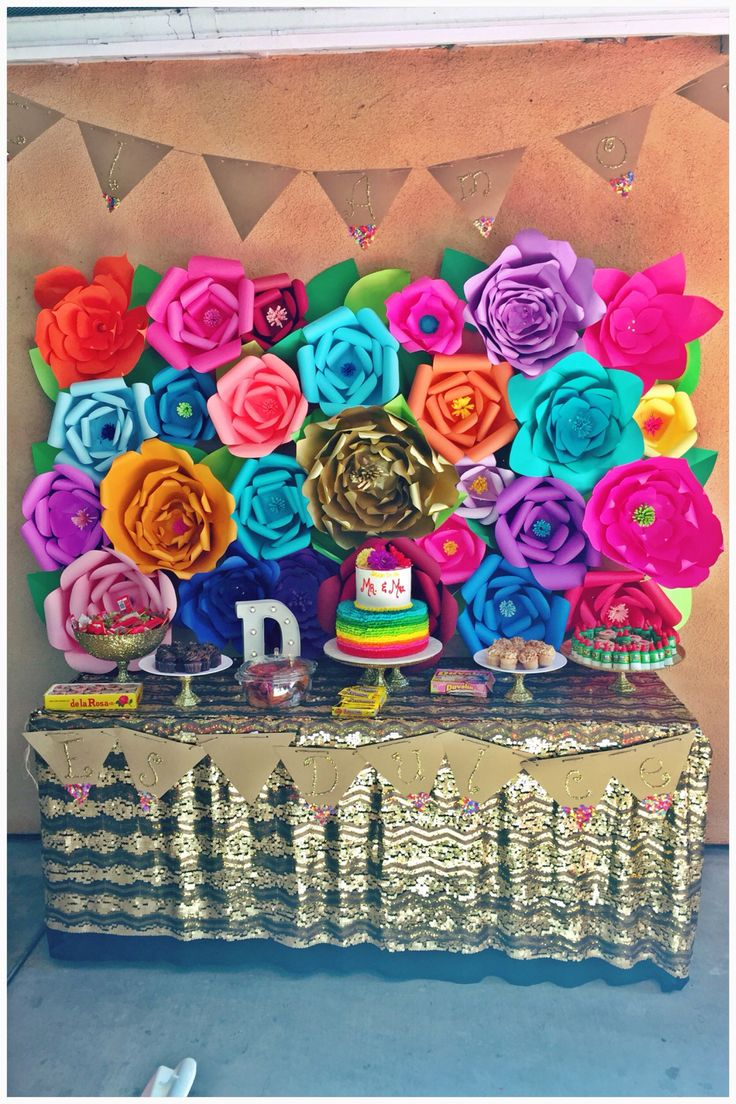 """""""El Amor es dulce"""" Mexican fiesta theme wedding shower paper flower backdrop and dessert table"""