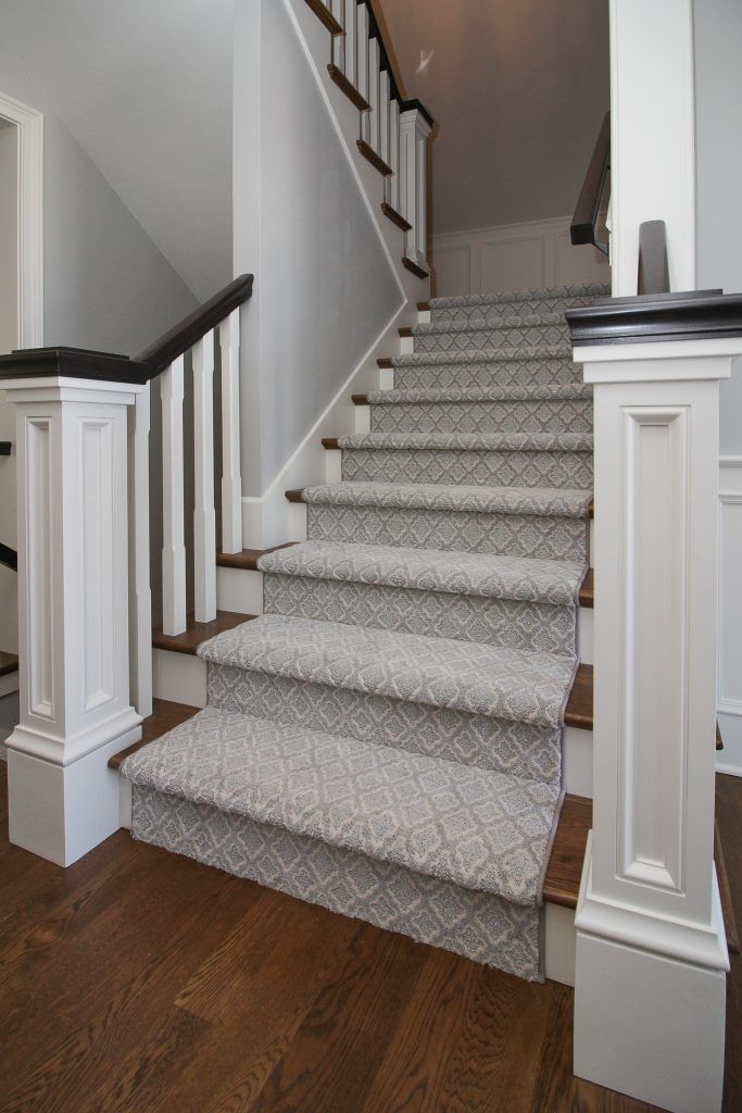 Best Gray And Light Blue Patterned Carpeted Staircase Carpet 400 x 300