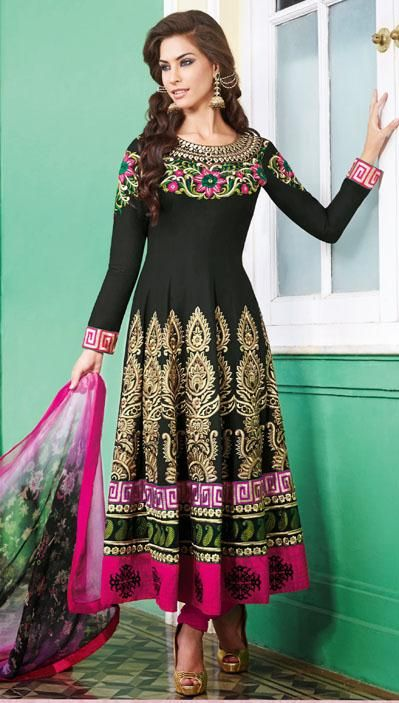 $109.52 Black Cotton A Line Embroidered Anarkali Style Salwar Kameez 25977