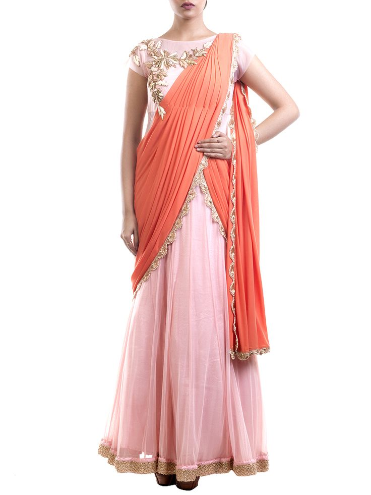 Pink And Orange Saree Gown #Ekatrra #Saree #Gown #Georgette #Clothing #Couture…