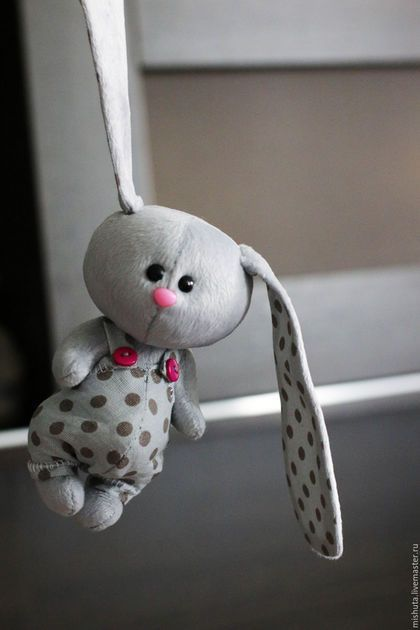 Cute fabric toy Bunny / Игрушки животные, ручной работы. Ярмарка Мастеров - ручная работа. Купить малыш Пончик в комбинезоне. Handmade. Серый