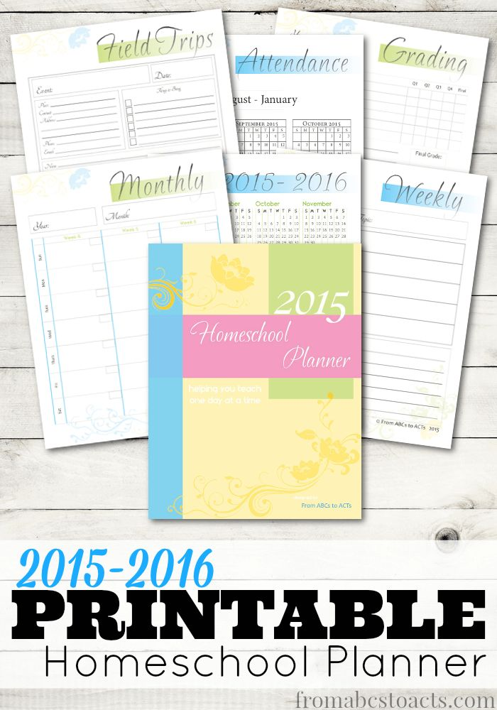 Start your homeschool year off of the right foot with this printable 2015-2016 homeschool planner.  Over 15 pages to help get you ready for the new year!