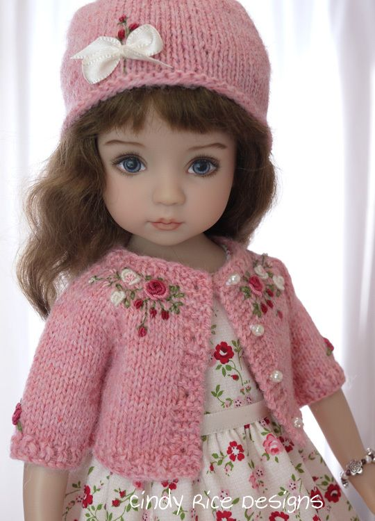 """""""Rosy Promises"""", a hand made ensemble for Little Darling dolls.  cindyricedesigns.com"""