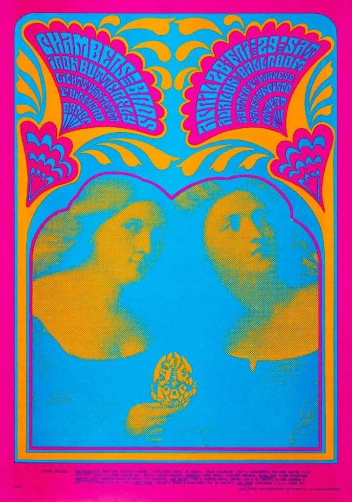 """the Master of Psychedelic Posters & Comics, Victor Moscoso's in this striking """"Poster From The Past"""". Reminiscent of his Neon Rose series for the Matrix night Club, this is Family Dog poster number #59 entitled the """"Bobbsey Twins""""."""