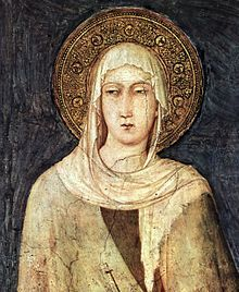 St Clare of Assisi patron of Eye disease, goldsmiths, laundry, embroiderers, gilders, good weather, needleworkers, Santa Clara Pueblo, telephones, telegraphs, television