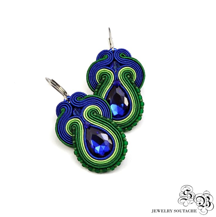 Dangle Green Blue Earrings, Soutache Earrings, Handmade Earrings, Colorful Earrings, Soutache Jewelry, Unique Earrings, Medium Earrings by SBjewelrySoutache on Etsy