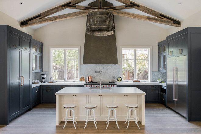"Interior Design Ideas - ""Navy Farmhouse Kitchen Paint Color"" (Benjamin Moore HC-154 Hale Navy)"