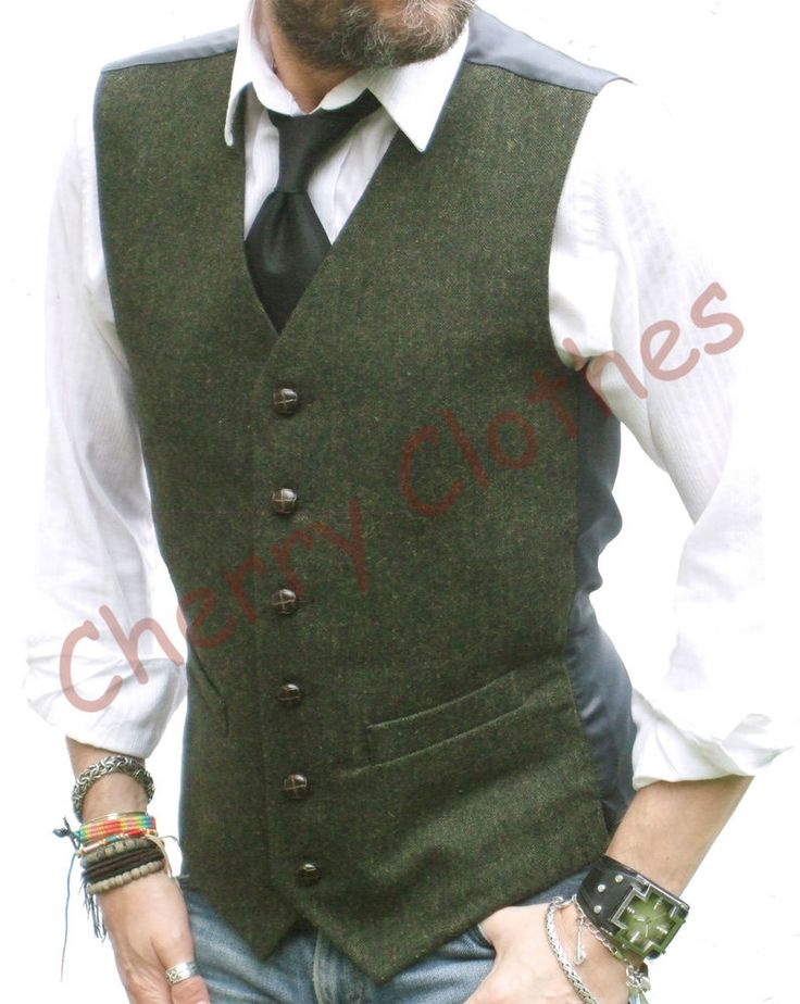 MENS TWEED WOOL BLEND GREEN FLECK WAISTCOAT VEST - ALL SIZES S M L XL XXL