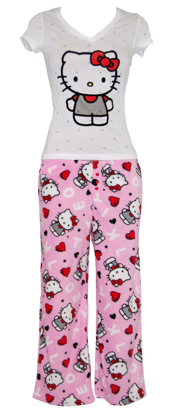 Hello kitty bathroom accessories - Hello Kitty Comfort Chic White Tee And Pink Fleece Pants