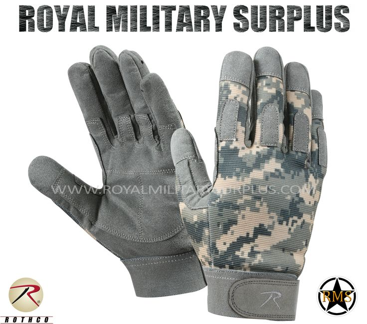 Tactical Gloves - Combat Warrior - ACU (Universal) - 37,95$ (CAD) | ACU (Universal Camouflage Pattern) US Army Camouflage - 3 Colors Army/Military/Commando/Special Forces Design Made following Military Specifications Nylon, Leather and Spandex Construction Synthetic Leather Palms Reinforced Fingers & Knuckles Moisture Wicking Technology Adjustable Wrist (Hook & Loop) BRAND NEW Available Sizes : S - M - L - XL - XXL http://www.royalmilitarysurplus.com/Gloves_c23.htm