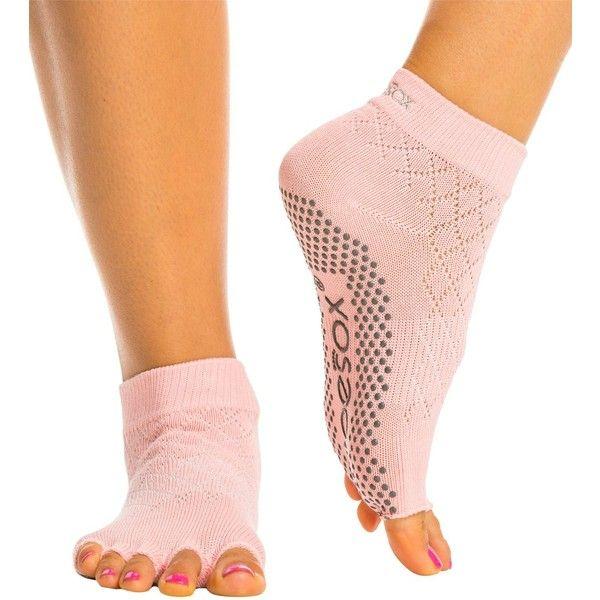 Toesox Ankle Length Half-Toe Yoga Grip Socks ($17) ❤ liked on Polyvore featuring intimates, hosiery, socks, ankle length slip, ankle high socks, toesox, ankle high hosiery and yoga socks