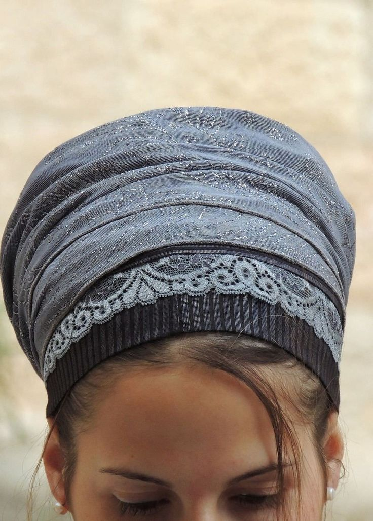 Stunning & Unique handmade  Mitpachat  (Head Covering, Scarf, Tichel), fashionable and comfortable. ...Beautiful Black and silver colors design!!.... For a special occasion!!! or for anytime! Our head covering will make sure you get lots of complimen