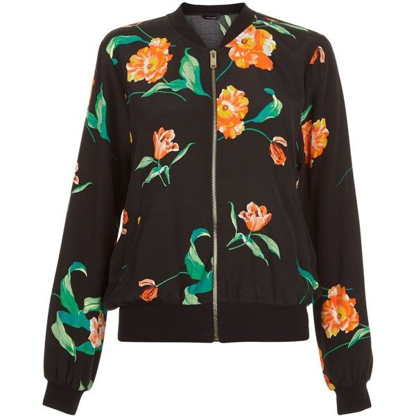 New Look Black Tropical Print Bomber Jacket ($20) ❤ liked on Polyvore featuring outerwear, jackets, black pattern, zip front jacket, bomber jacket, long sleeve jacket, pocket jacket and flight jacket