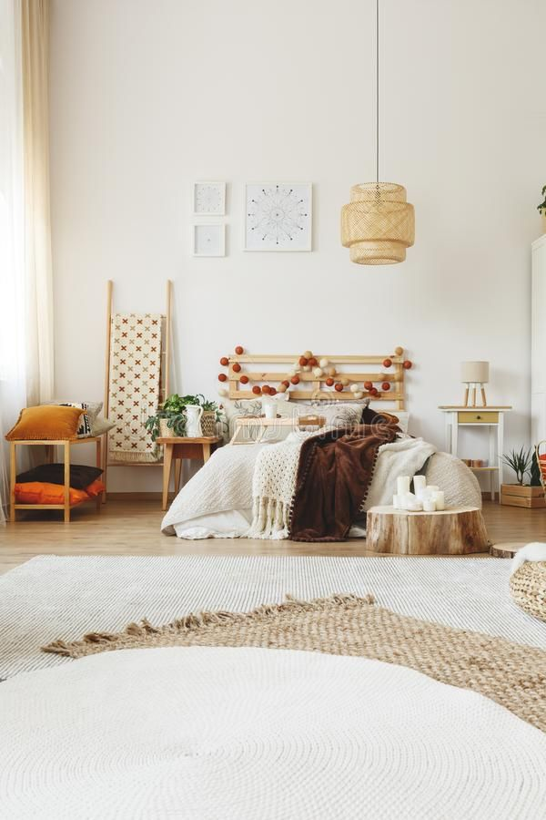 Download Modern hygge style bedroom stock photo. Image of indoor - 103606084