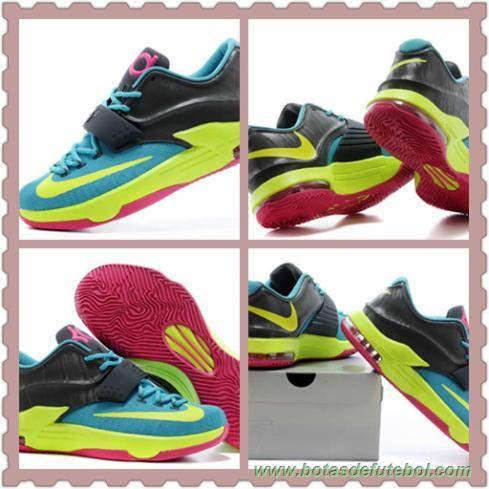 """hiper Jade/Volt-O Hyper-de-rosa-Escuro Base de Cinza KDVII-018 """"Carnival"""" Nike KD VII Masculino chuteiras de futsal baratas"""
