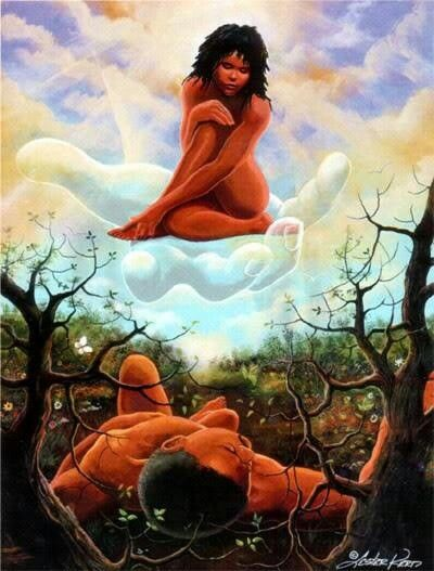 This depiction is of God bringing the first woman to the first man Adam.