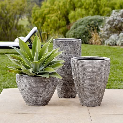 Textured Stone Planter, Gray, Tall, 16