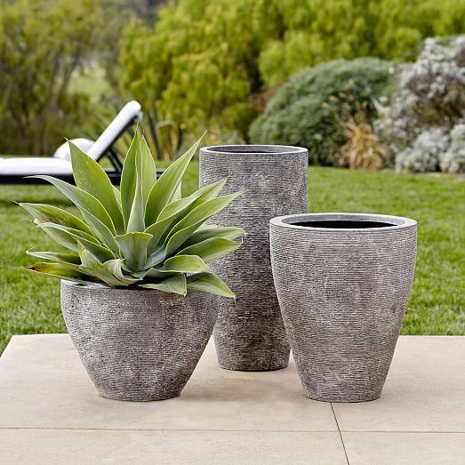 Ridged Stone Planters | west elm