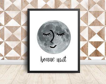 Bonne Nuit Art Print, Instant Digital Download, Printable Art, Wall Art Print, Modern Print, Black and White Print, Nursery Wall Art
