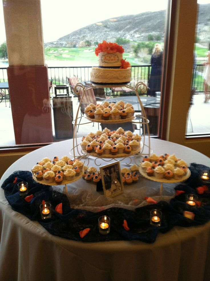 Wedding cake with cupcakes! Coral and navy blue colors