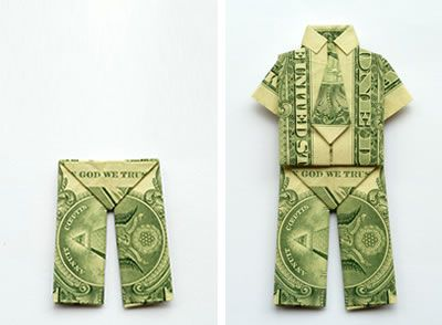 Video and photo instructions for making money origami trousers. Also check out our origami shirt and dress tutorials