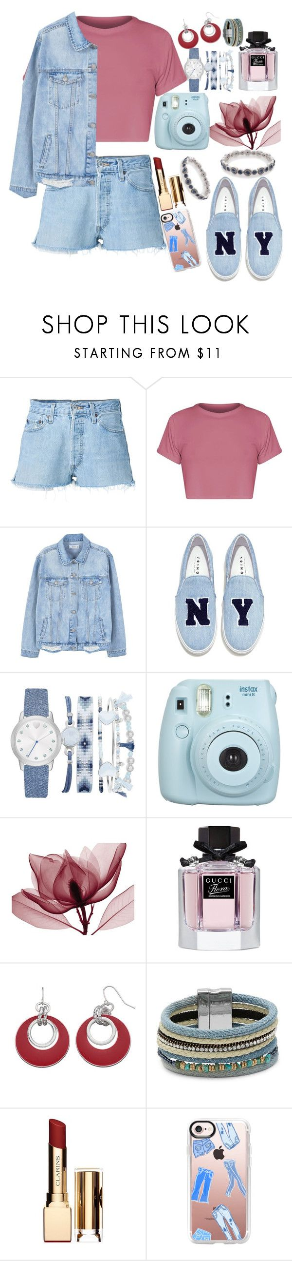"""""""denim"""" by adibah-ghulami ❤ liked on Polyvore featuring RE/DONE, MANGO, Joshua's, A.X.N.Y., Fujifilm, Gucci, Design Lab, Clarins, Casetify and Napier"""