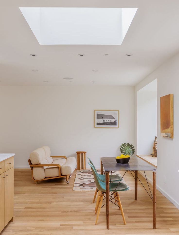 Skylights in Brother and Sister homes by Anonymous Architects | Photo by Steve King | Case Study Fiberglass Shell Chairs with Dowel Bases | http://modernica.net/dowel-side-shell.html