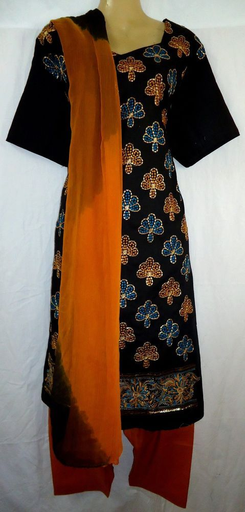 "PURE COTTON Salwar Kameez NEW Dress Sm 725 Yellow Black BUST 48"" #0119B"