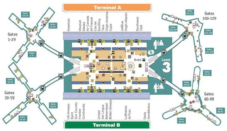 Detailed map and information about the Orlando International airport