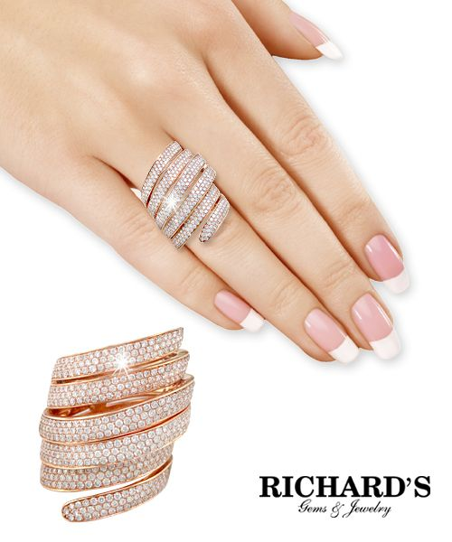 Diamond coil ring in 14k rose gold