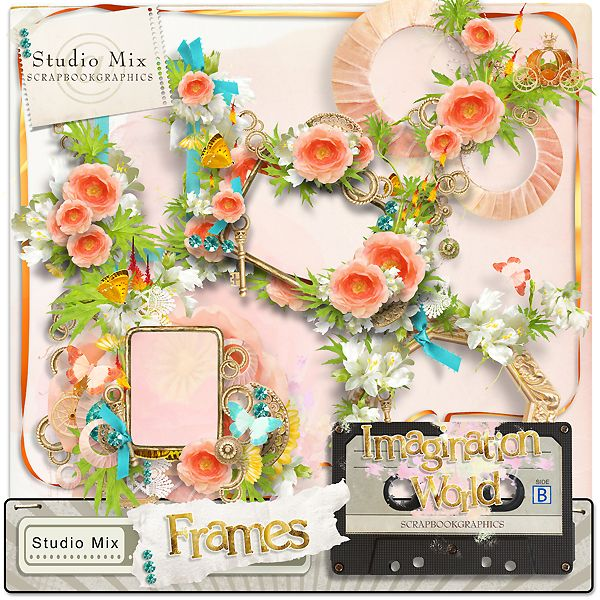 """Imagination World - Frames""  http://shop.scrapbookgraphics.com/Studio-Mix-50-Imagination-World-Frames.html"