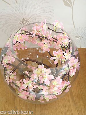 Stunning pink blossom large #glass bowl artificial #flower arrangement in #water,  View more on the LINK: 	http://www.zeppy.io/product/gb/2/141795250187/